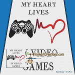 My Heart Lives In Video Games SC (Single Crochet) Throw Blanket Graphghan Crochet Pattern - PDF Download