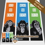No Evil Monkeys SC (Single Crochet) Throw Sized Blanket Graphghan Crochet Pattern - PDF Download