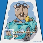 Out for a Drive Teddy SC (Single Crochet) Throw Blanket Graphghan Crochet Pattern - PDF Download
