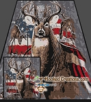 Patriotic Deer SC (Single Crochet) Full Size Blanket Graphghan Crochet Pattern