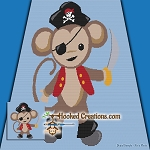 Pirate Monkey SC (Single Crochet) Throw Blanket Graphghan Crochet Pattern - PDF Download