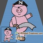 Pirate Pig Mini C2C (Modified Corner to Corner) Throw Blanket Graphghan Crochet Pattern