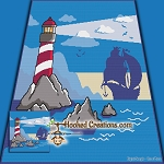 Pirates Lighthouse SC (Single Crochet) Throw Blanket Graphghan Crochet Pattern - PDF Download