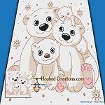 Polar Bear Family SC (Single Crochet) Throw Blanket Graphghan Crochet Pattern - PDF Download