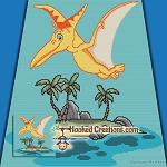 Pterodactyl Island SC (Single Crochet) Throw Blanket Graphghan Crochet Pattern - PDF Download