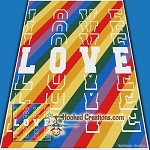 Rainbow Love SC (Single Crochet) Throw Blanket Graphghan Crochet Pattern - PDF Download