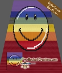 Rainbow Smiley C2C (Corner to Corner) Throw Blanket Crochet Pattern
