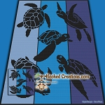 Sea Turtle Delight SC (Single Crochet) Throw Blanket Graphghan Crochet Pattern - PDF Download