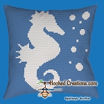 Seahorse SC (Single Crochet) Throw Pillow - Graphghan Crochet Pattern - PDF Download