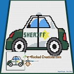 Sheriff Car C2C (Corner to Corner) Throw Blanket Graphghan Crochet Pattern - PDF Download