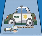 Sheriff Car SC (Single Crochet) Throw Blanket Graphghan Crochet Pattern - PDF Download