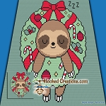 Sloth Wreath Mini C2C (Modified Corner to Corner) Throw Blanket Graphghan Crochet Pattern - PDF Download