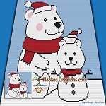 Snow Bear Mini C2C (Modified Corner to Corner) Throw Blanket Graphghan Crochet Pattern - PDF Download
