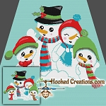 Snow Family SC (Single Crochet) Throw Blanket Graphghan Crochet Pattern