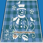 Snowman Stencil SC (Single Crochet) Baby Blanket Graphghan Crochet Pattern - PDF Download