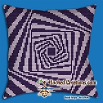 Squared Spiral SC (Single Crochet) Throw Pillow Graphghan Crochet Pattern - PDF Download
