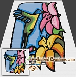 Stained Glass Humming Bird SC (Single Crochet) Throw Blanket Graphghan Crochet Pattern