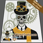 Steampunk Skull SC (Single Crochet) Throw Sized Blanket Graphghan Crochet Pattern - PDF Download