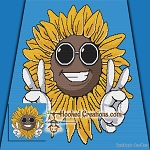 Sunflower Peace SC (Single Crochet) Throw Blanket Graphghan Crochet Pattern - PDF Download