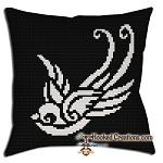 Swallow SC (Single Crochet) Throw Pillow Graphghan Crochet Pattern - PDF Download