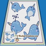 Swimming Narwhales SC (Single Crochet) Throw Blanket Graphghan Crochet Pattern - PDF Download