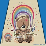 Teddy Under the Rainbow SC (Single Crochet) Throw Blanket Graphghan Crochet Pattern - PDF Download