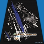 Thin Blue Line Police Dog SC (Single Crochet) Throw Blanket Graphghan Crochet Pattern - PDF Download