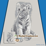 Tiger Cub SC (Single Crochet) Throw Blanket Graphghan Crochet Pattern - PDF Download