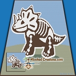 Triceratops Skeleton SC (Single Crochet) Throw Blanket Graphghan Crochet Pattern - PDF Download
