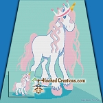 Unicorn Princess SC (Single Crochet) Throw Blanket Graphghan Crochet Pattern - PDF Download