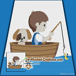 A Day on the Lake SC (Single Crochet) Throw Blanket Graphghan Crochet Pattern - PDF Download