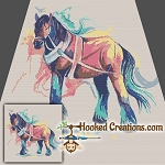 A Horse of a Different Color SC (Single Crochet) Throw Blanket Graphghan Crochet Pattern - PDF Download
