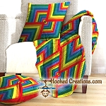 A Walk Through the Rainbow SC (Single Crochet) Throw Blanket & Pillow Set Graphghan Crochet Pattern - PDF Download