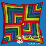 A Walk Through the Rainbow SC (Single Crochet) Throw Pillow Graphghan Crochet Pattern - PDF Download