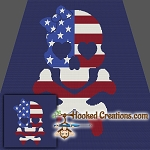 American Skull SC (Single Crochet) Throw Blanket Graphghan Crochet Pattern - PDF Download