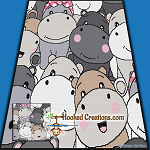 Baby Hippos SC (Single Crochet) Throw Blanket Graphghan Crochet Pattern - PDF Download
