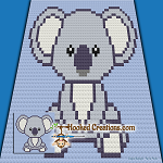 Baby Koala C2C (Corner to Corner) Baby Blanket Graphghan Crochet Pattern - PDF Download