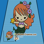 Baby Mermaid SC (Single Crochet) Baby Blanket Graphghan Crochet Pattern - PDF Download