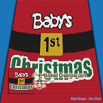 Baby's 1st Christmas TSS (Tunisian Simple Stitch) Left Handed Baby Blanket Graphghan Crochet Pattern - PDF Download