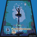 Ballet Dancer SC (Single Crochet) Throw Size Blanket Graphghan Crochet Pattern - PDF Download