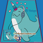 Be Unique Narwhal SC (Single Crochet) Throw Blanket Graphghan Crochet Pattern - PDF Download