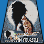 Believe Cat SC (Single Crochet) Throw Blanket Graphghan Crochet Pattern - PDF Download
