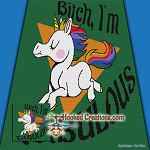 Bitch, I'm Fabulous SC (Single Crochet) Throw Blanket Graphghan Crochet Pattern - PDF Download