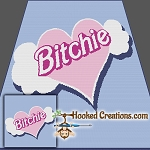 Bitchie SC (Single Crochet)Throw Blanket Graphghan Crochet Pattern - PDF Download