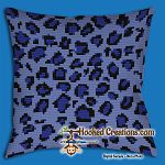 Blue Leopard SC (Single Crochet) Throw Pillow Graphghan Crochet Pattern - PDF Download