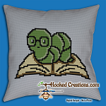Bookworm SC (Single Crochet) Throw Pillow Graphghan Crochet Pattern - PDF Download
