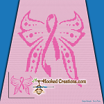 Breast Cancer Awareness Mini C2C (Modified Corner to Corner) Throw Blanket Graphghan Crochet Pattern - PDF Download