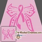 Breast Cancer Awareness SC (Single Crochet) Throw Blanket Graphghan Crochet Pattern - PDF Download