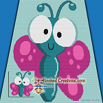 Butterfly Buggy SC (Single Crochet) Baby Blanket Graphghan Crochet Pattern - PDF Download