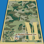 Camouflage Alphabet - M SC (Single Crochet) Baby Blanket Graphghan Crochet Pattern - PDF Download